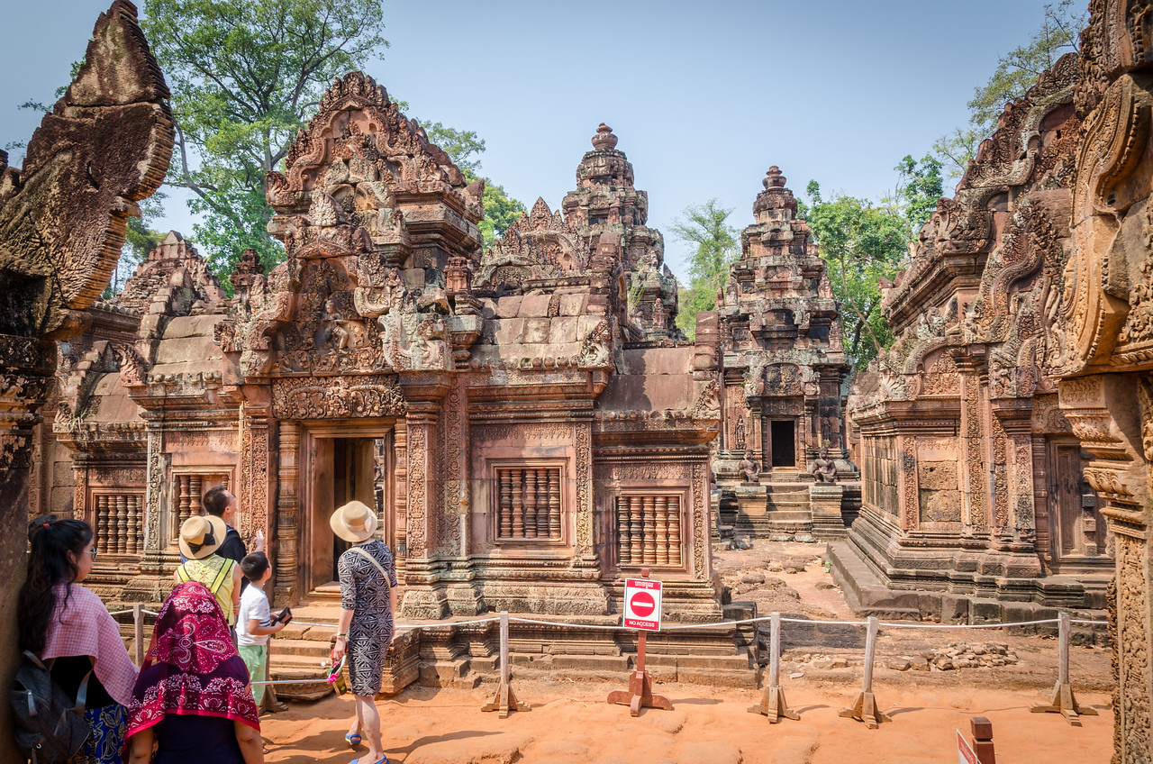 Inside Banteay Srei. Banteay Srei is a 10th-century Cambodian temple dedicated to the Hindu god Shiva.