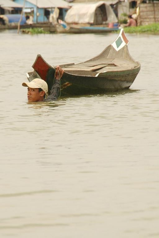 Man Dragging the Boat - Battambang, Cambodia