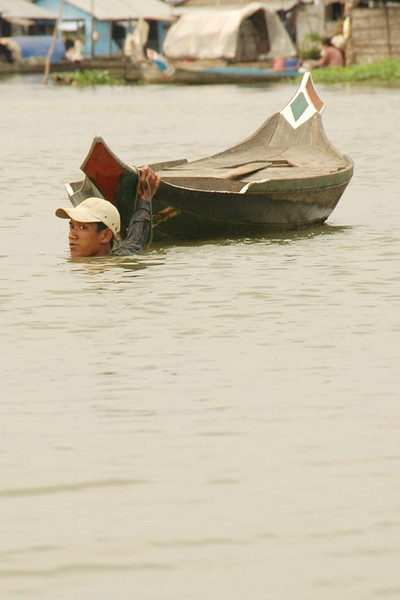 Man Dragging the Boat - Battambang, Cambodia