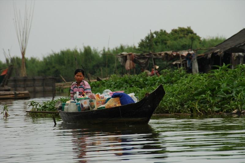 Woman on a Boat - Battambang, Cambodia