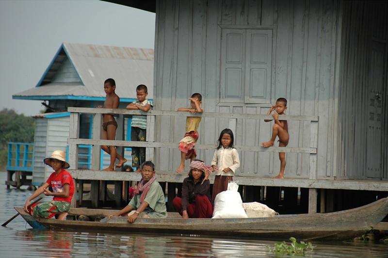 Kids on a Floating House - Battambang, Cambodia