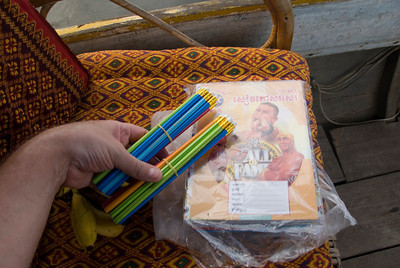 Shot of school supplies inside the floating school in Tonle Sap