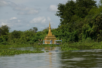 Water Stupa near mangroves in Tonle Sap, Cambodia