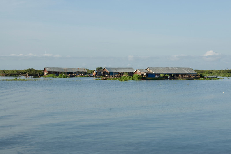 A shot of the floating houses in Tonle Sap, Cambodia