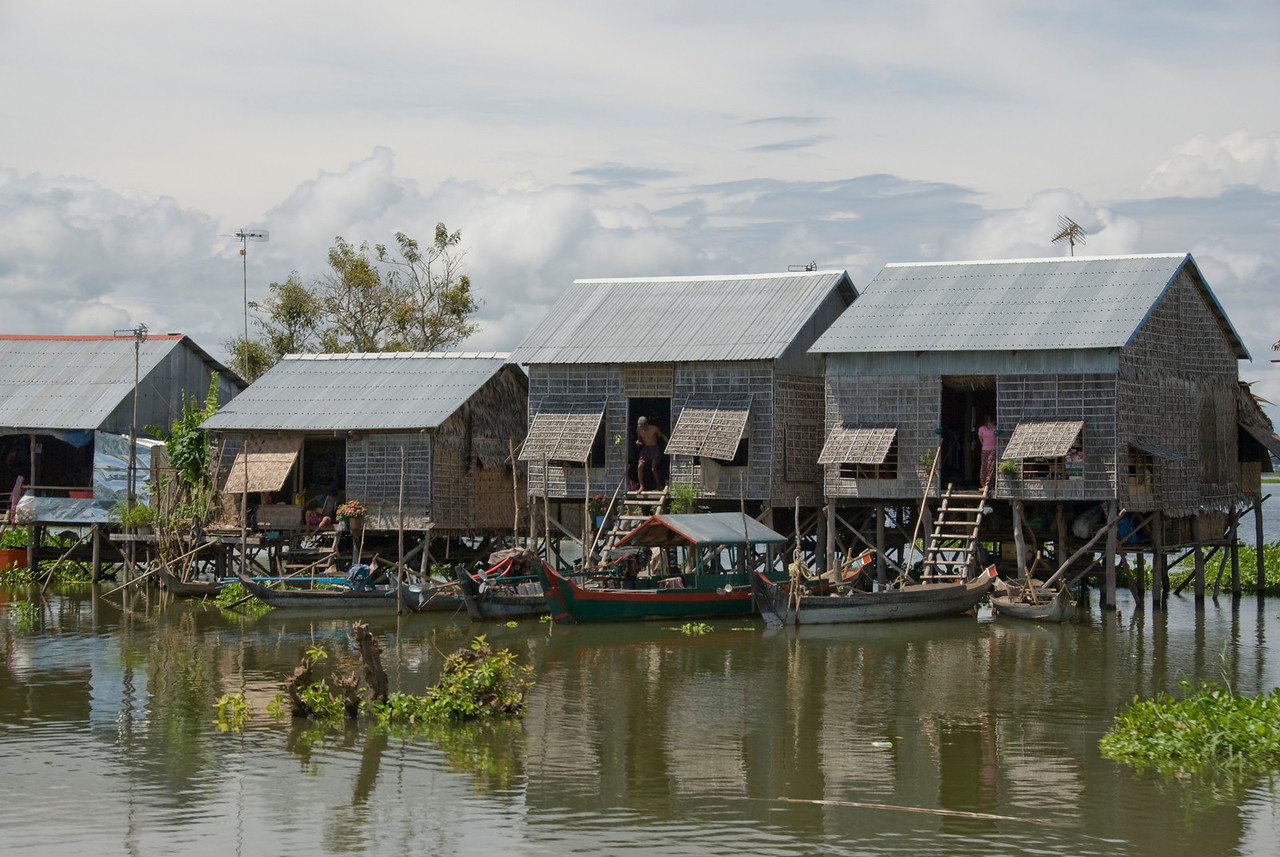 A line of water huts in Tonle Sap, Cambodia