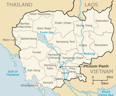 A detailed map of Cambodia