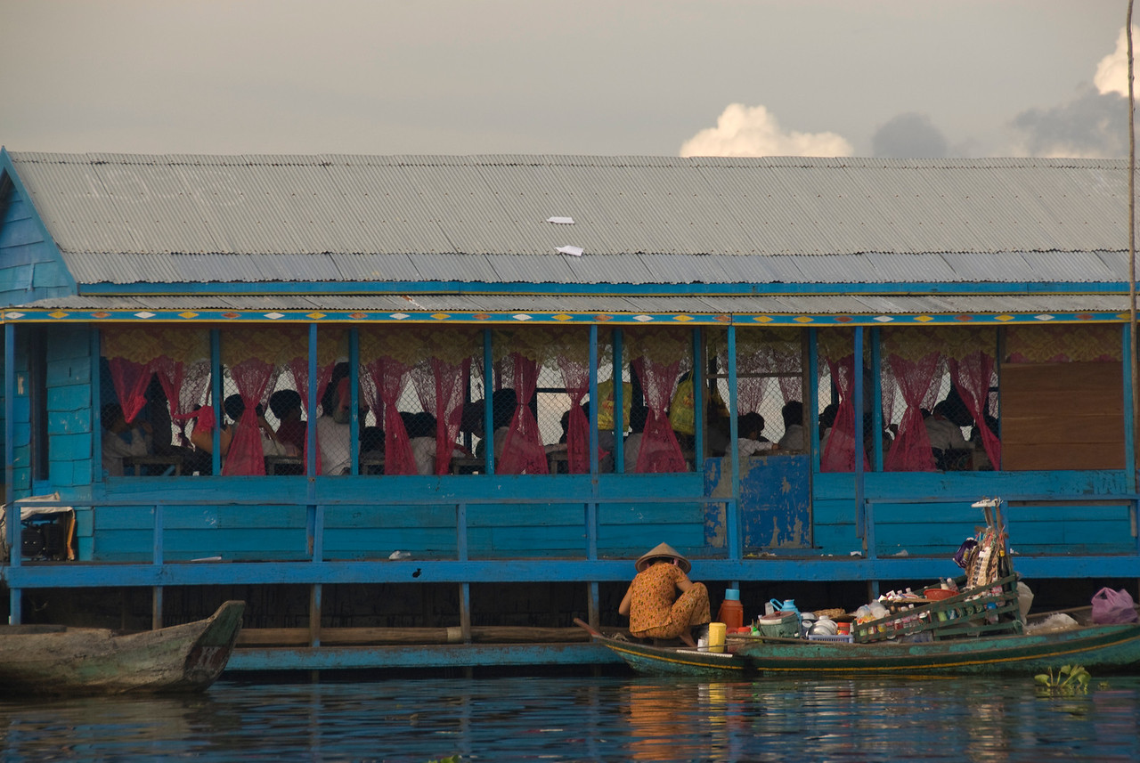 A shot of the floating school in Tonle Sap from afar