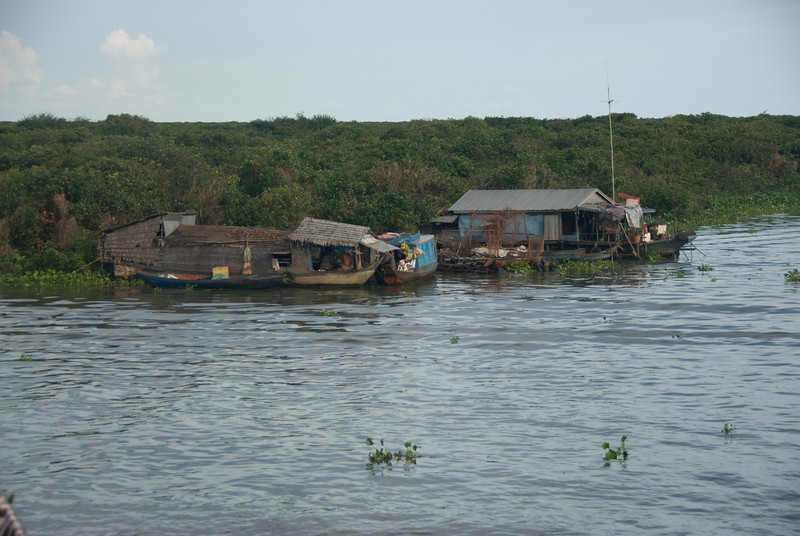 Floating houses at Tonle Sap in Cambodia