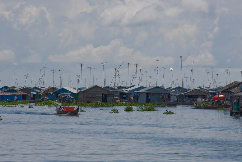 TV Antennas over floating houses in a village in Tonle Sap, Cambodia