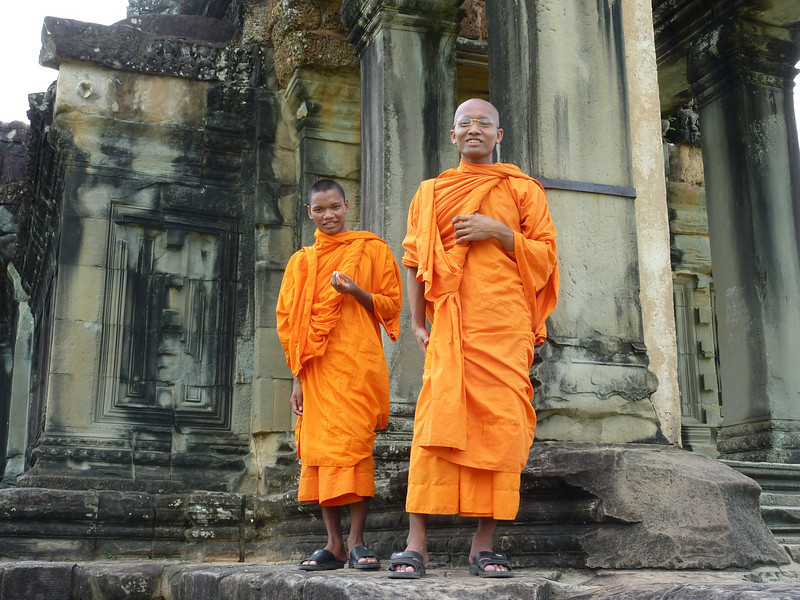 Two young, friendly monks who were found within the Angkor Wat complex. They were eager to chat.