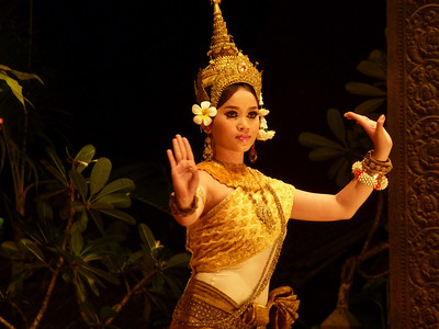 A performance of traditional Cambodian apsara dancing.