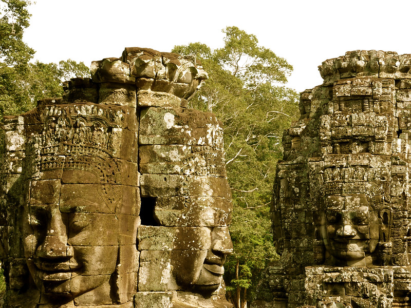 The temple of Bayan in the Angor area has over 200 faces of a former Khmer king on its many towers.
