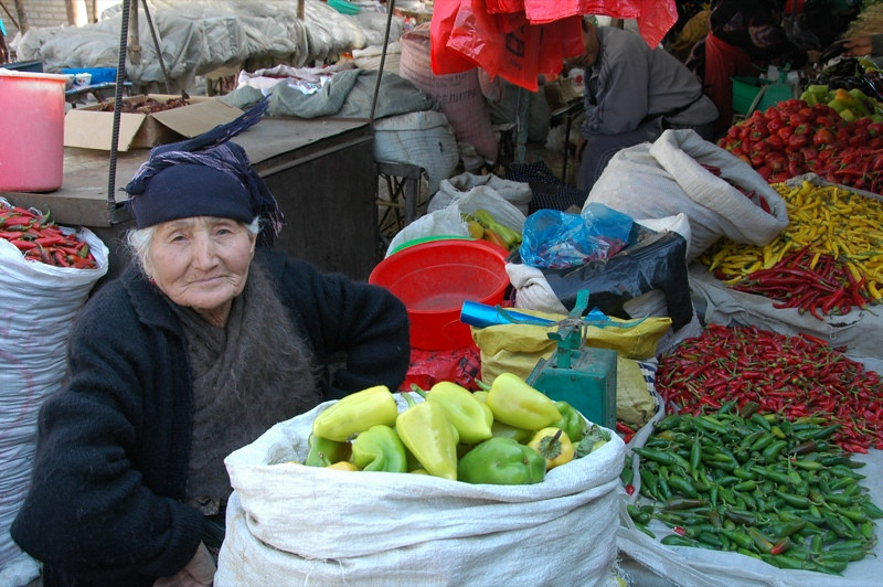 Older Women Pepper Vendor - Osh, Kyrgyzstan
