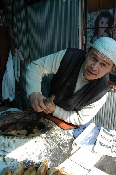 Baking Somsa (stuffed pastry) - Osh, Kyrgyzstan