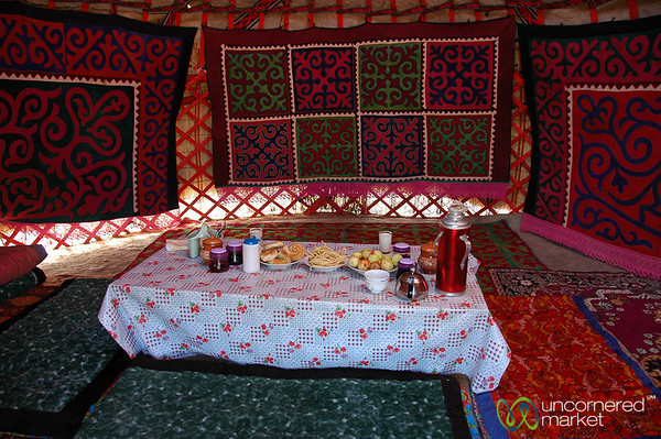 Breakfast Inside a Yurt - Lake Issyk-Kul, Kyrgyzstan