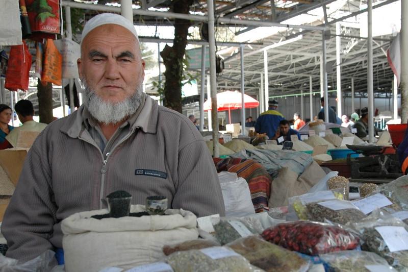 Spice Vendor at Shah Mansur Bazaar - Dushanbe, Tajikistan