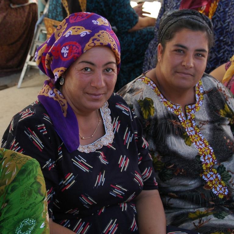 Scarf Vendors at Tolkuchka Market- Ashgabat, Turkmenistan