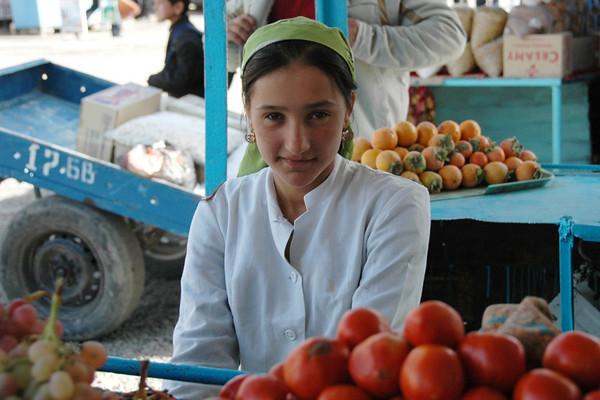 Tomato Vendor at Varzob Bazaar - Dushanbe, Tajikistan