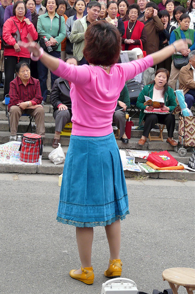 A woman in a turquoise skirt with pink blouse sings for a crowd of Chinese baby boomers.