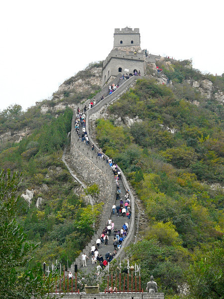 Climbing up the Great Wall of China