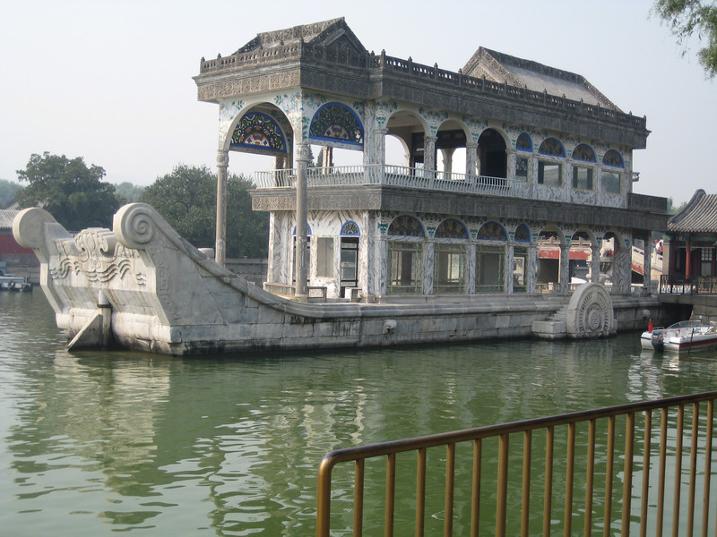 Marble boat in the lake at the Summer Palace in Beijing