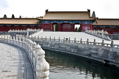 River running through the Forbidden City in Beijing, China.