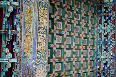 The artwork and ceiling paintings at the Forbidden City in Beijing, China.