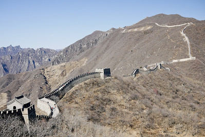Views toward tower 21 and beyond on the Great Wall of China at Mutianyu.