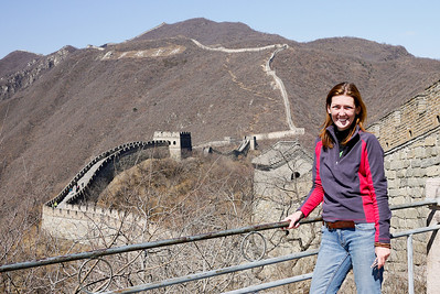 Enjoying views of the Great Wall of China