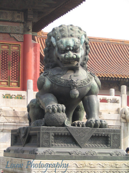 Male Lion in front of Gate of Supreme Harmony