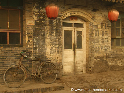 Classic Pingyao, Bicycle and Lanterns - Pingyao, China