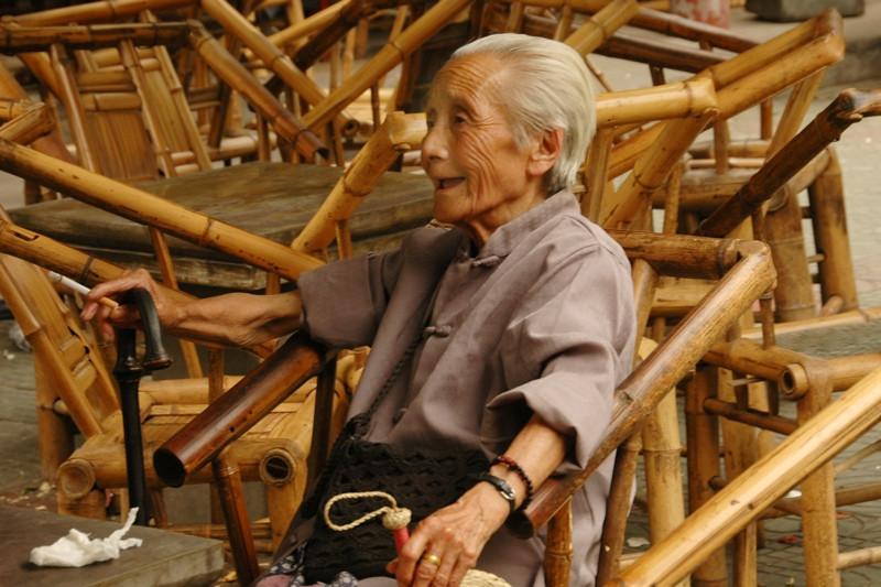 Chinese Woman at Teahouse - Chengdu, China