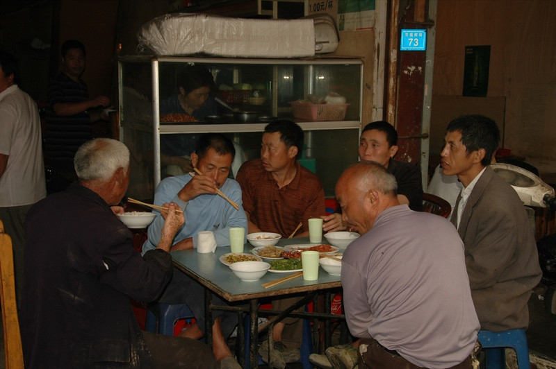 Chinese Men Eating Lunch - Chengdu, China