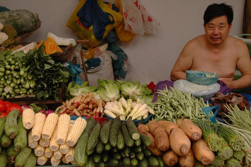 Shirtless Vegetable Vendor - Chengdu, China
