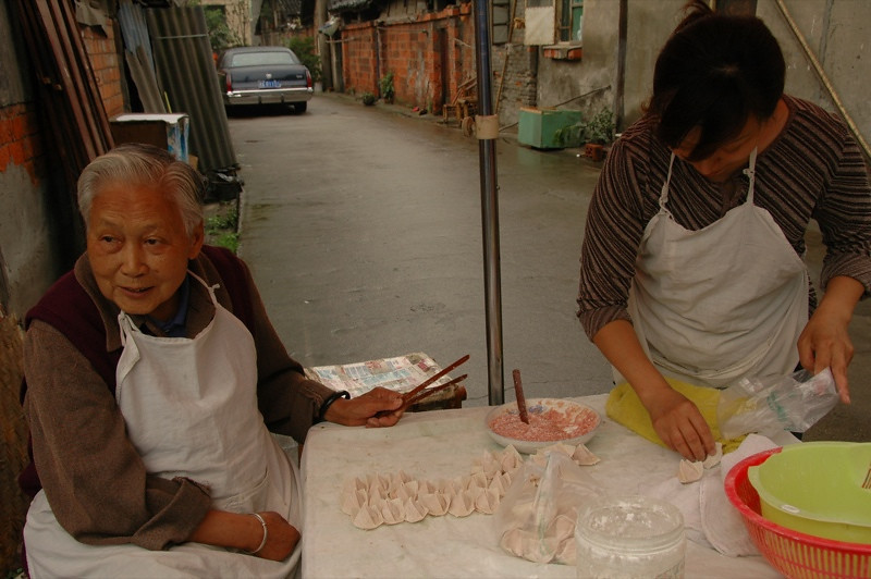 Mother and Daughter Making Dumplings - Chengdu, China