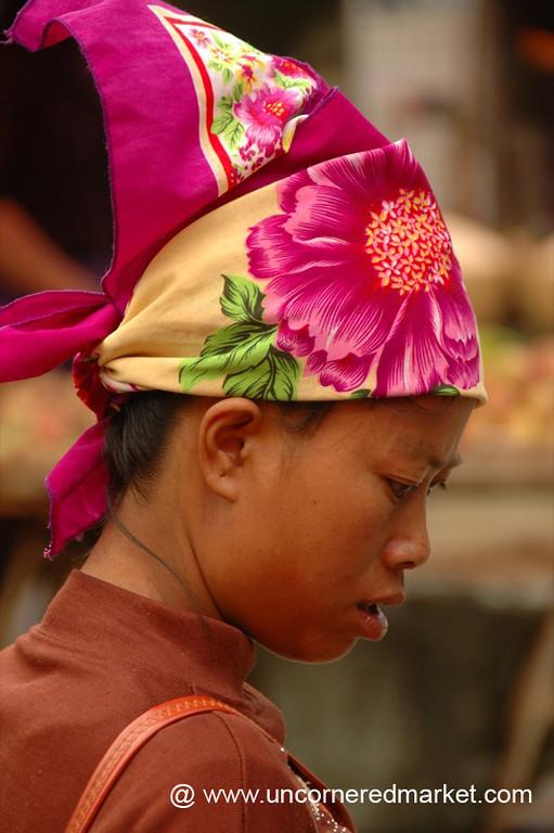 Colorful Headscarf, Menghun Market - Xishuangbanna, China