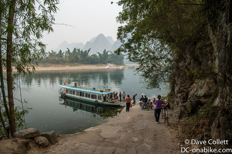 About to jump on the ferry across the Li River