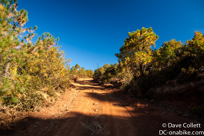 Red dirt track and blue sky