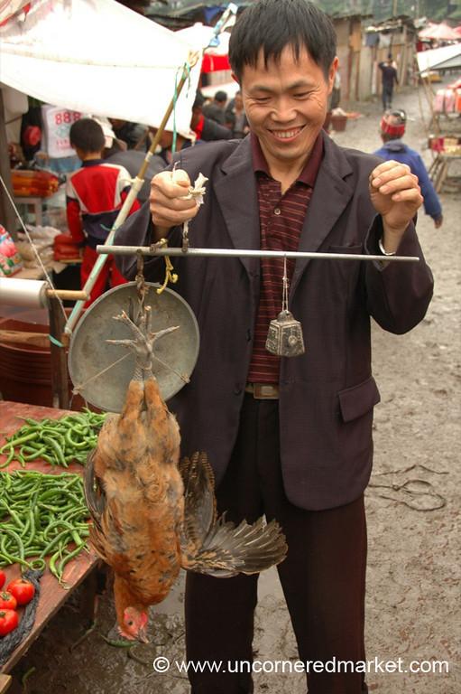 Weighing Chicken, Gedong - Guizhou Province, China