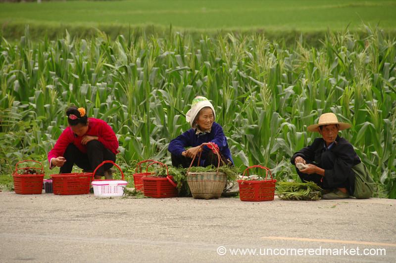 Chinese Vendors on Road - Guizhou Province, China