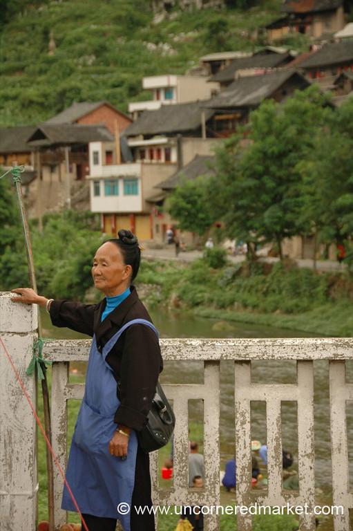 Miao Woman by River - Guizhou Province, China