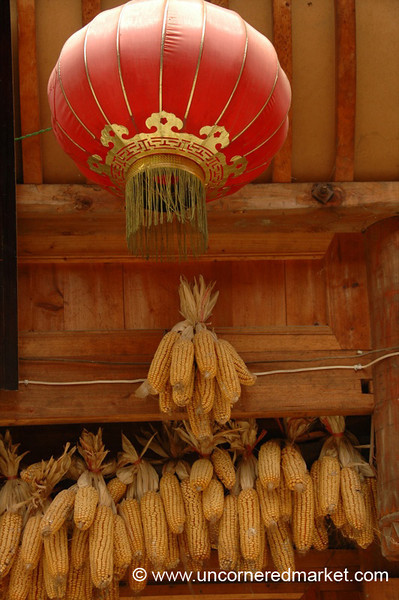Red Lantern and Corn - Guizhou Province, China
