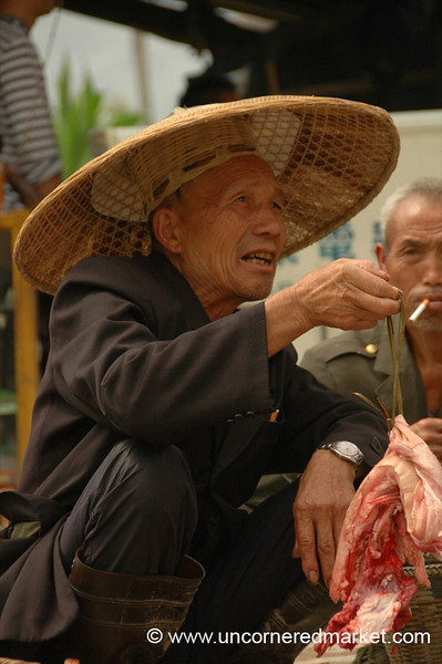 Selling Meat at Market - Guizhou Province, China