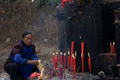 "Another form of offering -- burning ""ancestor money"" and incense."
