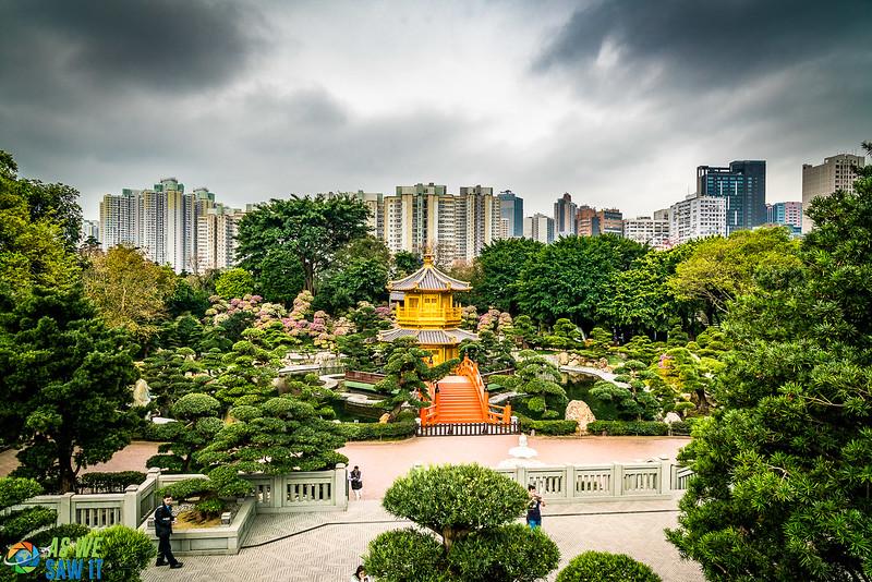 View from bridge connecting Nan Lian Garden with Chi Lin Nunnery
