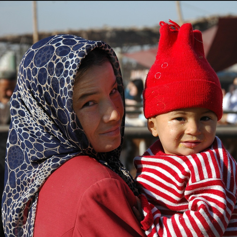Uighur Mother and Child - Kashgar, China
