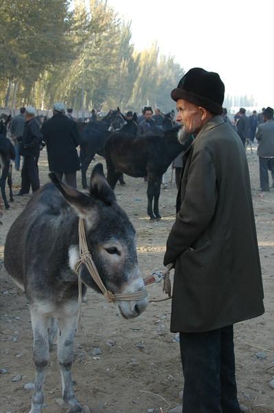 Uighur Man and his Donkey - Kashgar, China