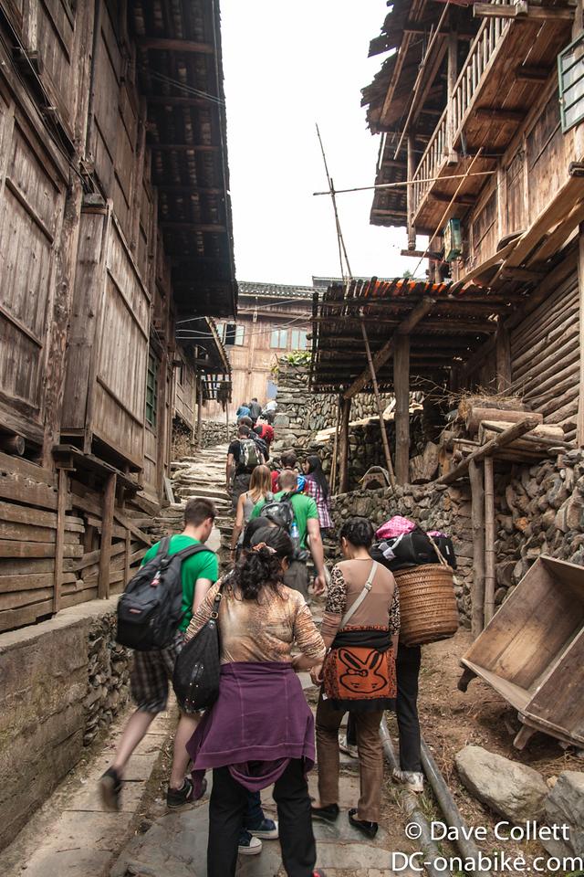 Walking through a village