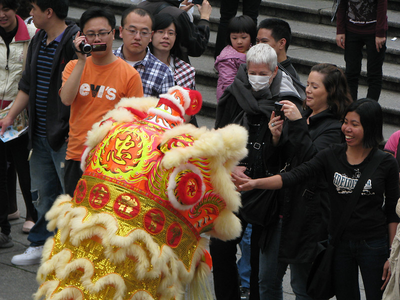 Lion Dance in Macao in front of the ruins of St Paul's Cathedral