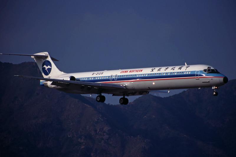 "B-2128 Douglas MD-82 ""China Northern Airlines"" c/n 49512 Hong Kong-Kai Tak/VHHH/HKG 22-10-96 (35mm slide)"